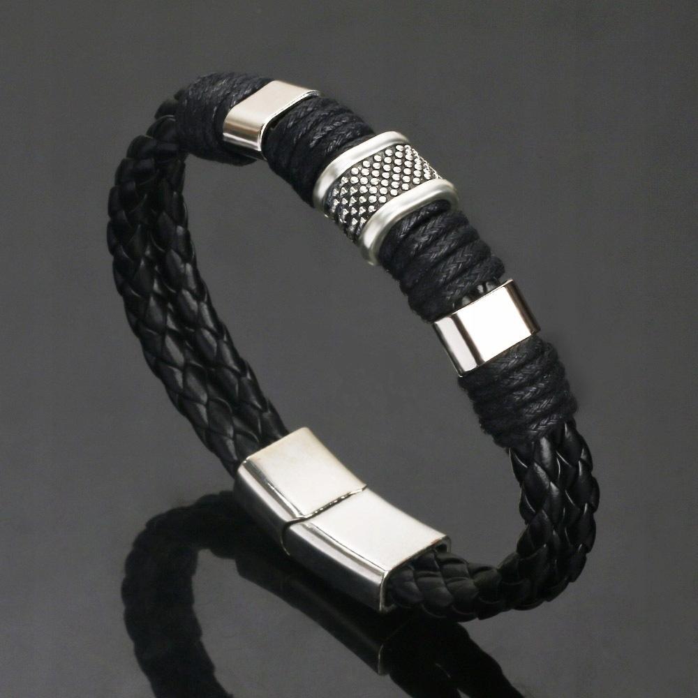 Čierny retro kožený pánsky hovädzí magnet