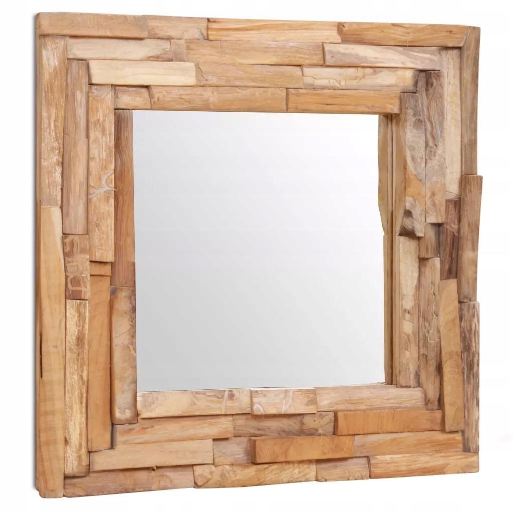Kúpeľňové dekoračné zrkadlo drevo 60 x 60 cm