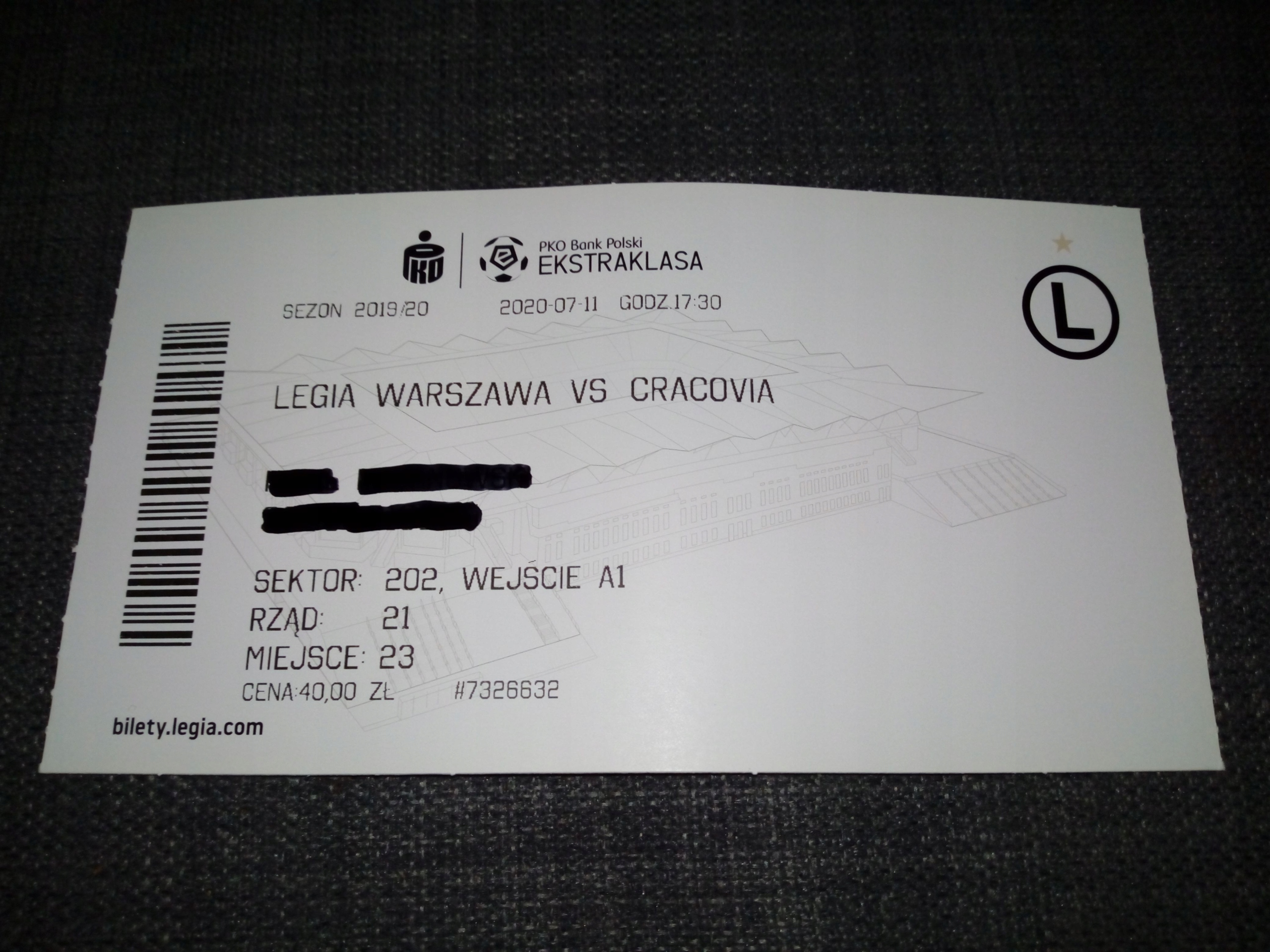 Bilet Legia Warszawa - Cracovia 11.07.2020