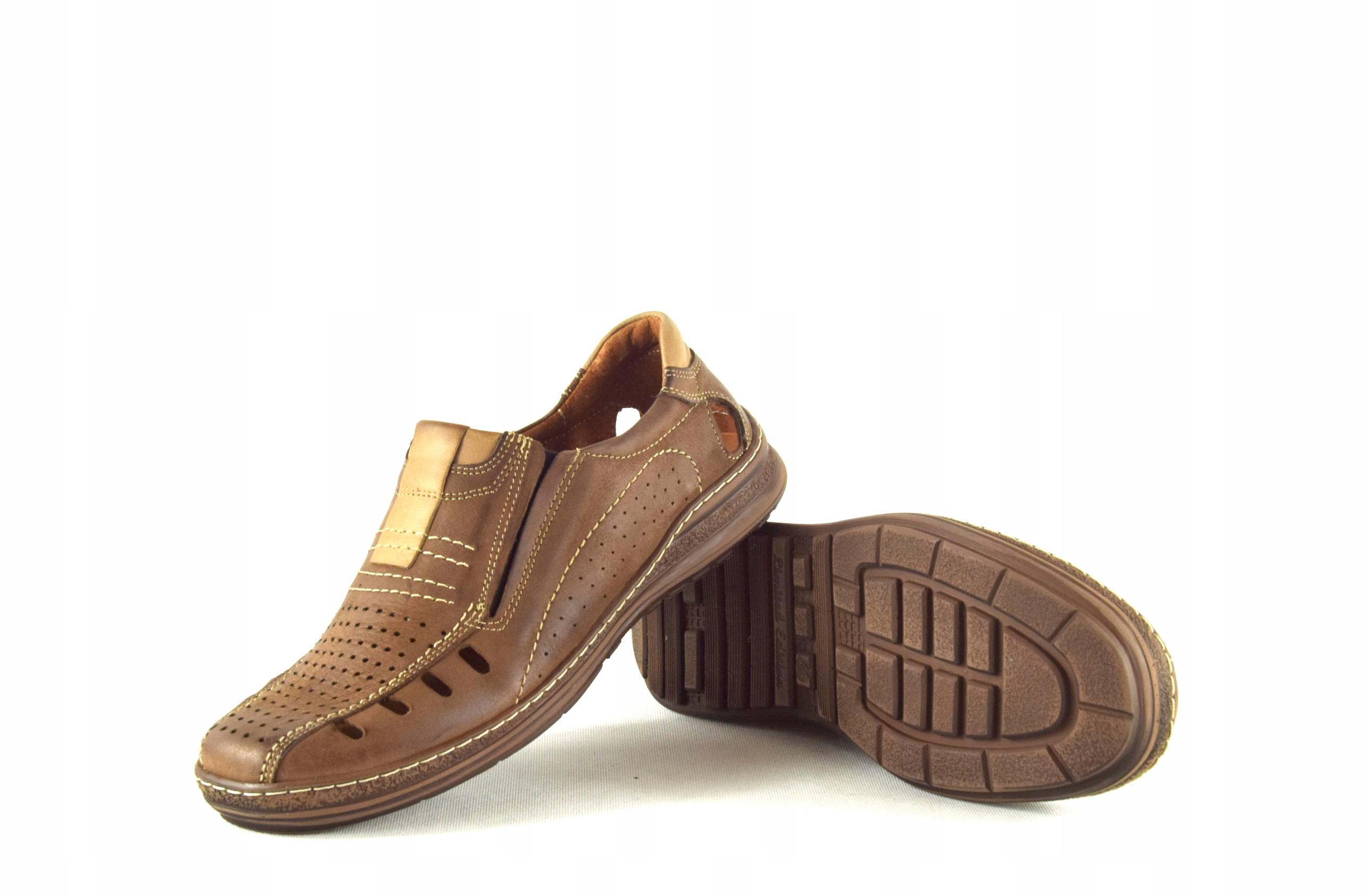 Mokasyny na lato buty ze skóry męskie dziurki 190L Oryginalne opakowanie producenta pudełko