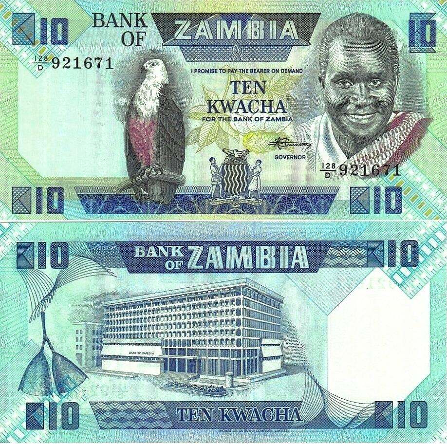 # ZAMBIA - 10 KWACHA - 1988 - P26d - UNC