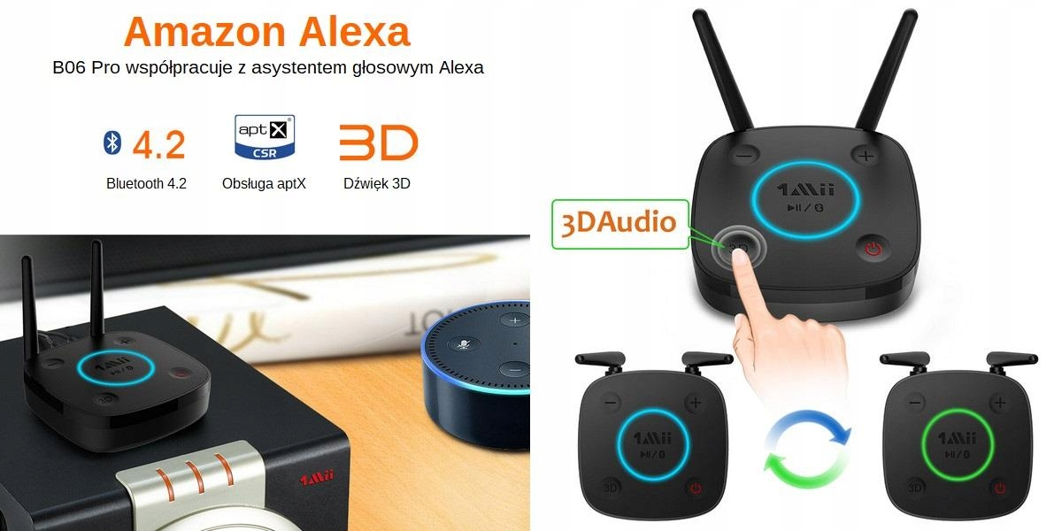 Odbiornik Audio Bluetooth 1Mii B06 PRO 60m Toslink EAN 6952917774205