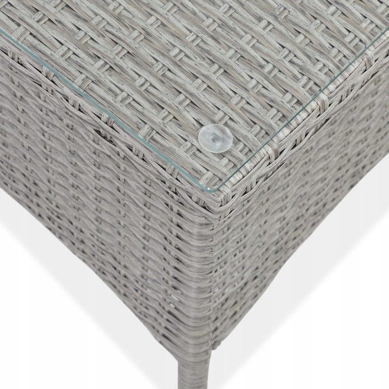 STOLNÝ STOL Z POLYATANOVEJ ZÁHRADY 50x50 KRÉM Dominantným materiálom je plast