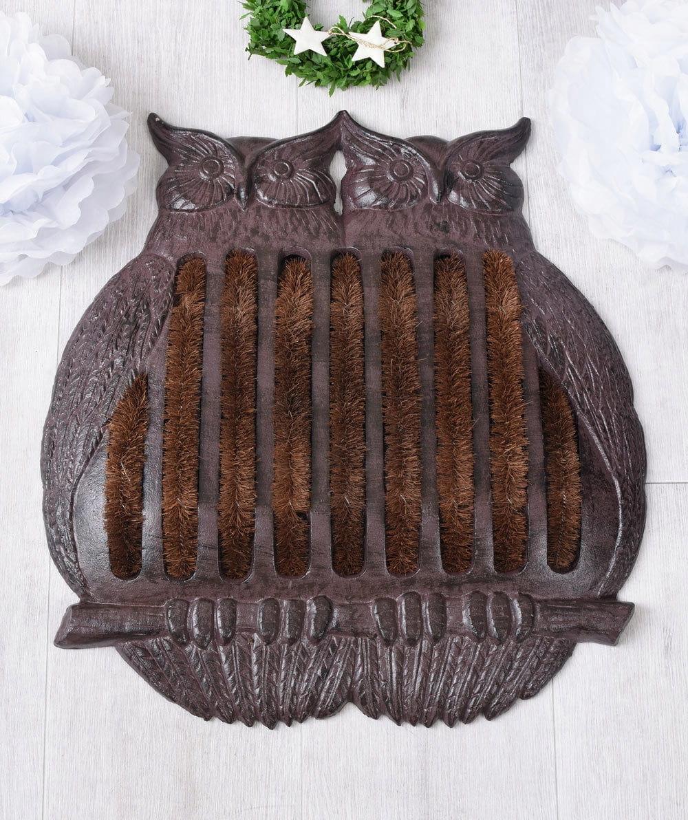 Retro rohožka sovy z hnedej liatiny