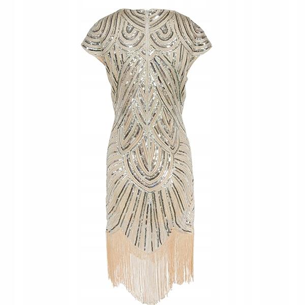 SEXY DRESS SEQUINS FRINGE RETRO VINTAGE XL