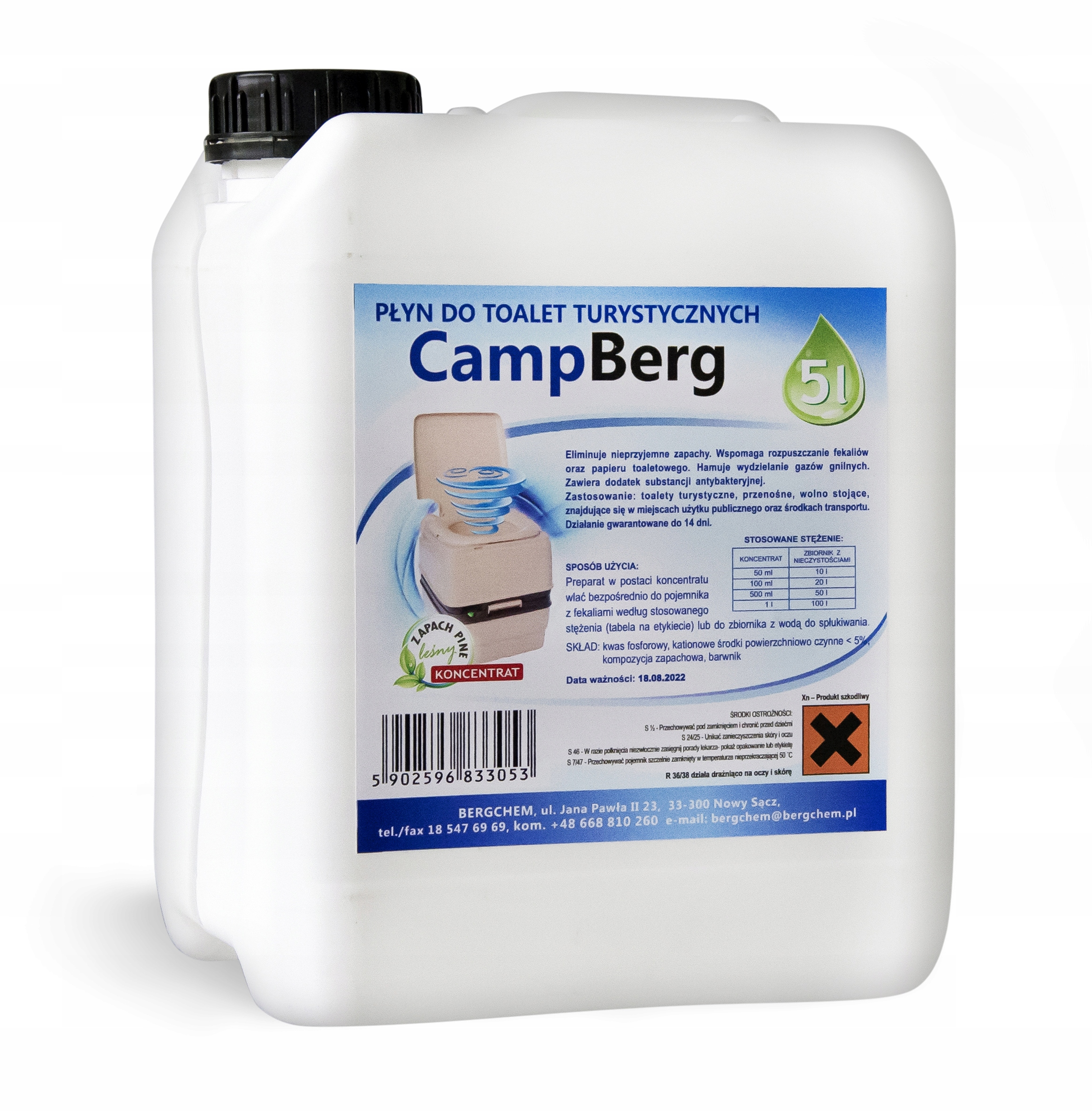 Kvapalný koncentrát pre turistické toalety - 5 litrov
