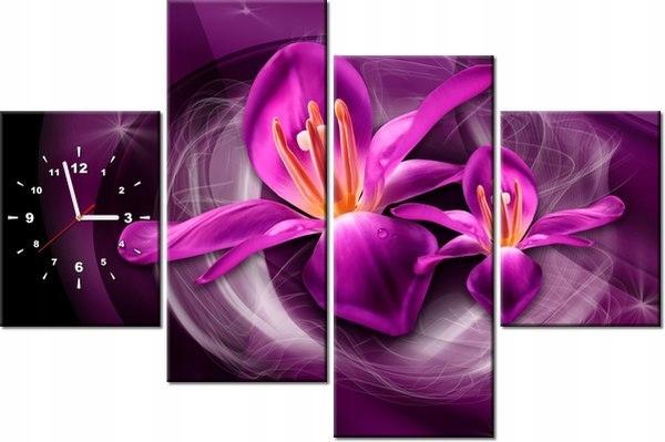 120cm 80cm Zegar 4 elem Różowe kosmiczne kwiaty Ja