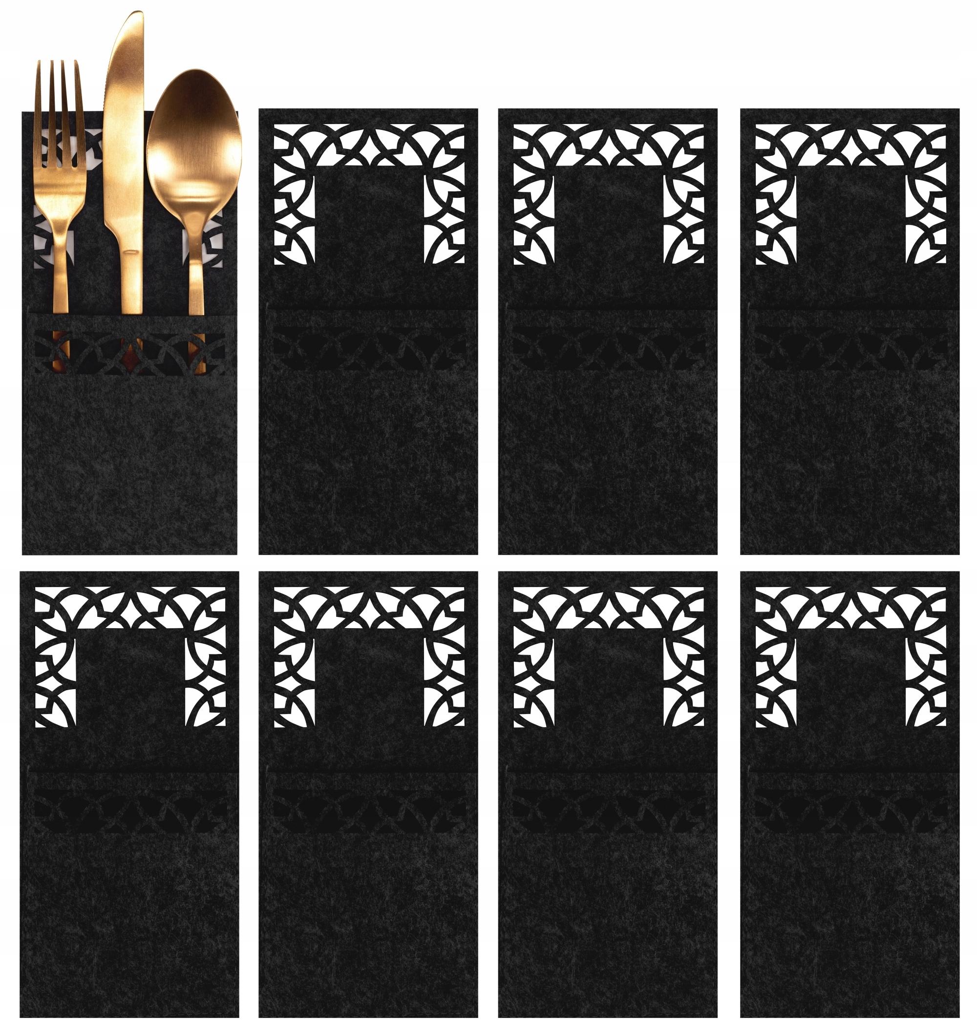 Рождественские чехлы для столовых приборов, черные, 8 шт.