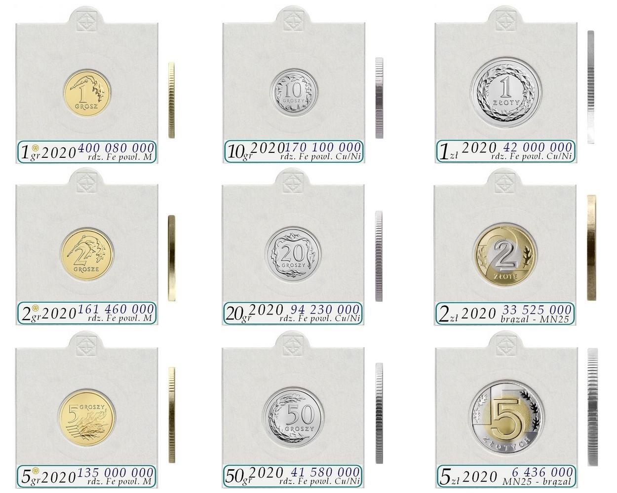 Набор тиражных монет 2020 9 штук + держатели