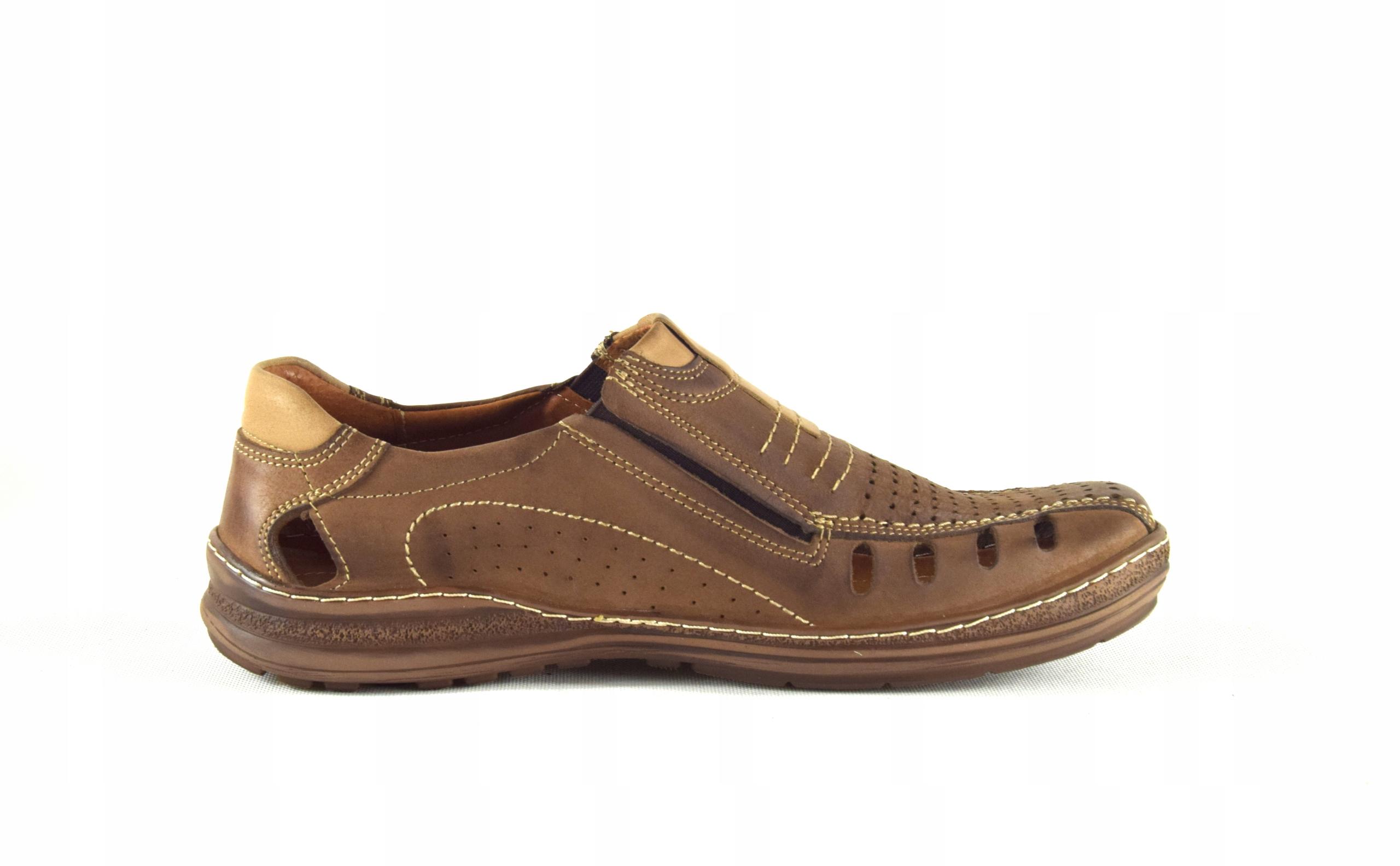 Mokasyny na lato buty ze skóry męskie dziurki 190L Rozmiar 45