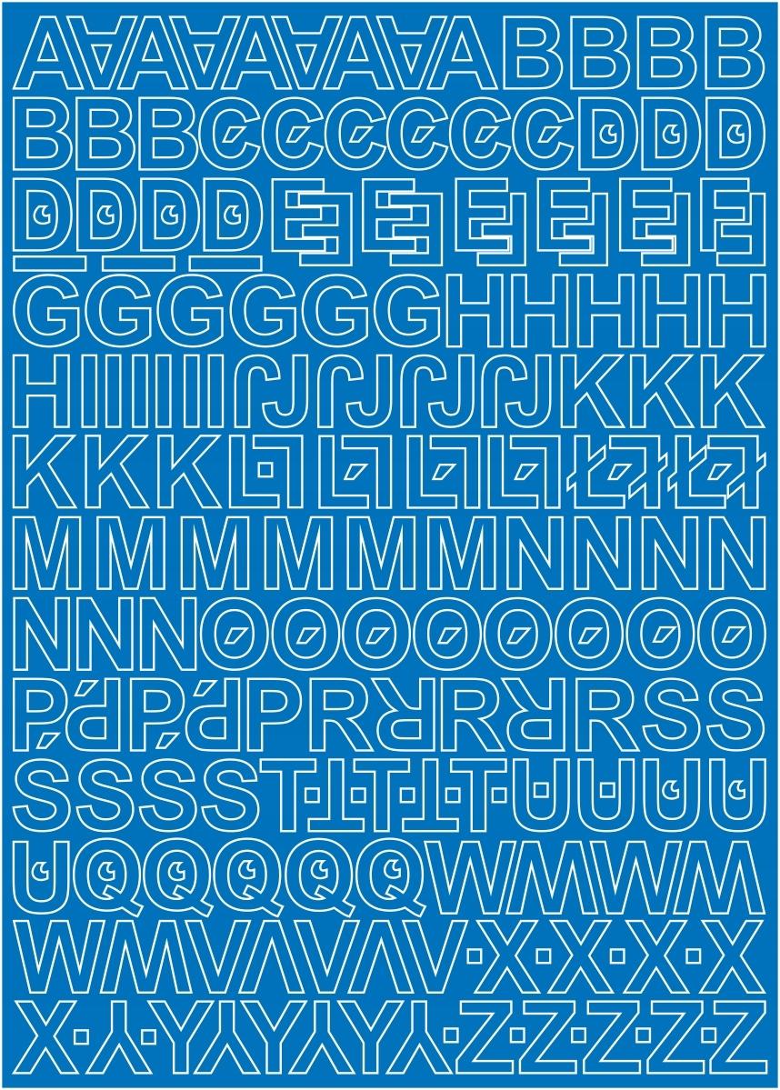 Самоклеящиеся буквы, 1см, синие, матовые, 255 знаков