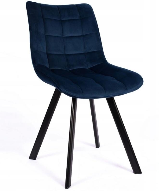 Krzesło Tapicerowane Pikowane Granatowe Welur Liczba krzeseł w zestawie 1