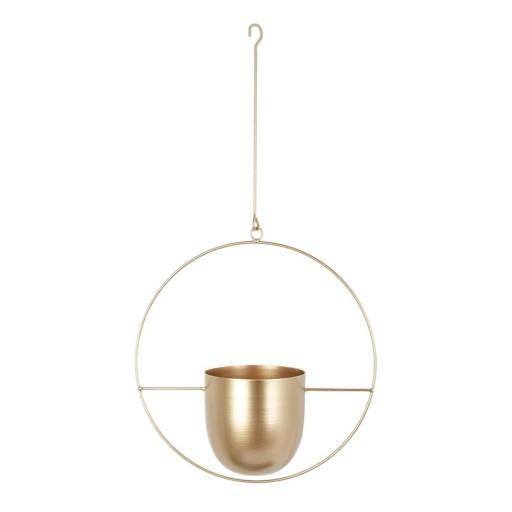 подвесная корзина для цветочных горшков - золотая круглая