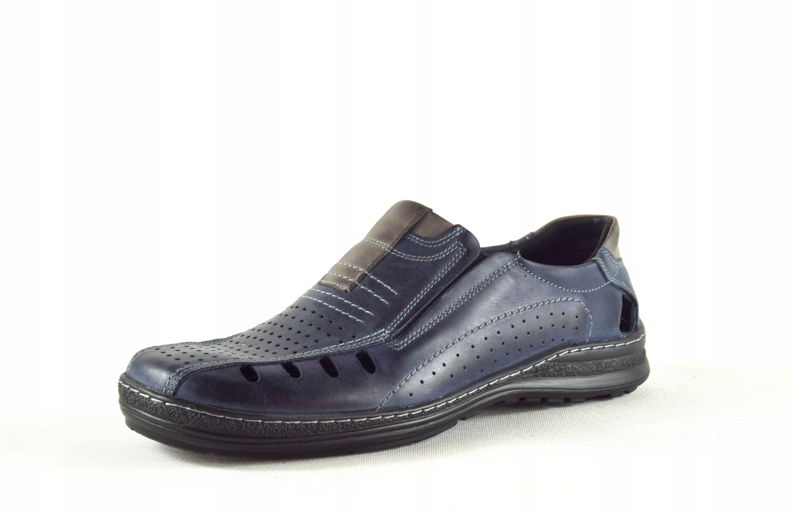 Lekkie dziurkowane męskie buty ze skóry PL 190L
