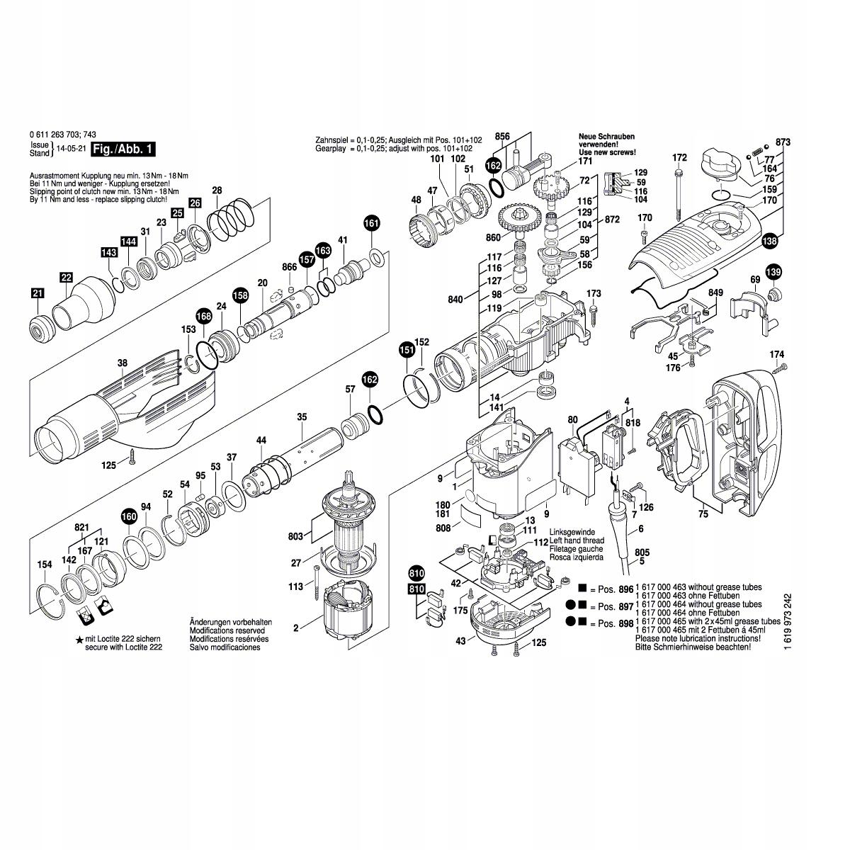 Demolačné kladivo predná spojka BOSCH GBH7-46DE 703