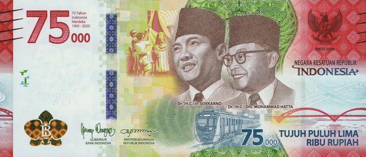 INDONEZJA 75000 Rupiah 2020 OKOLICZNOŚCIOWY UNC