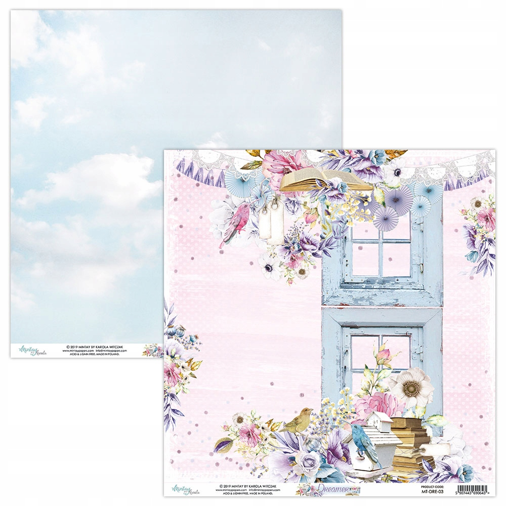Бумага для скрапбукинга Mintay - 30x30 см - Dreamer 03