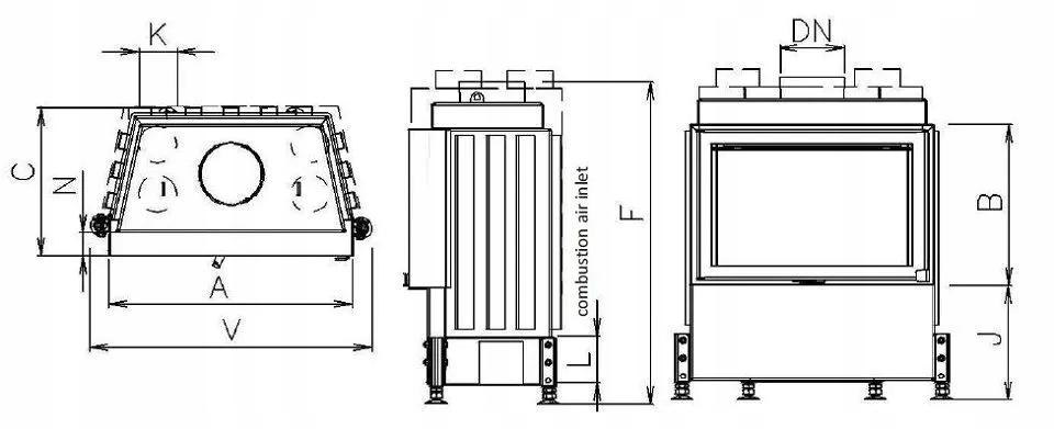 EKO 670/450 prosta szyba – Kobok - wkład stalowy Szyba boczna brak