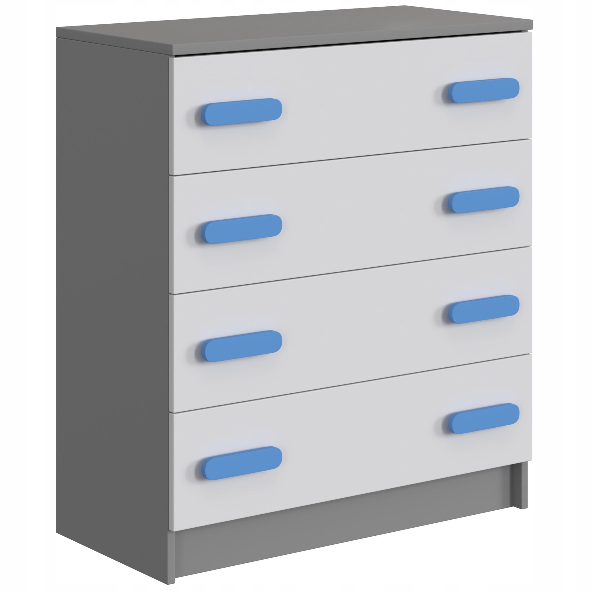 Komoda biało-szara z szufladami 80 dla dziecka