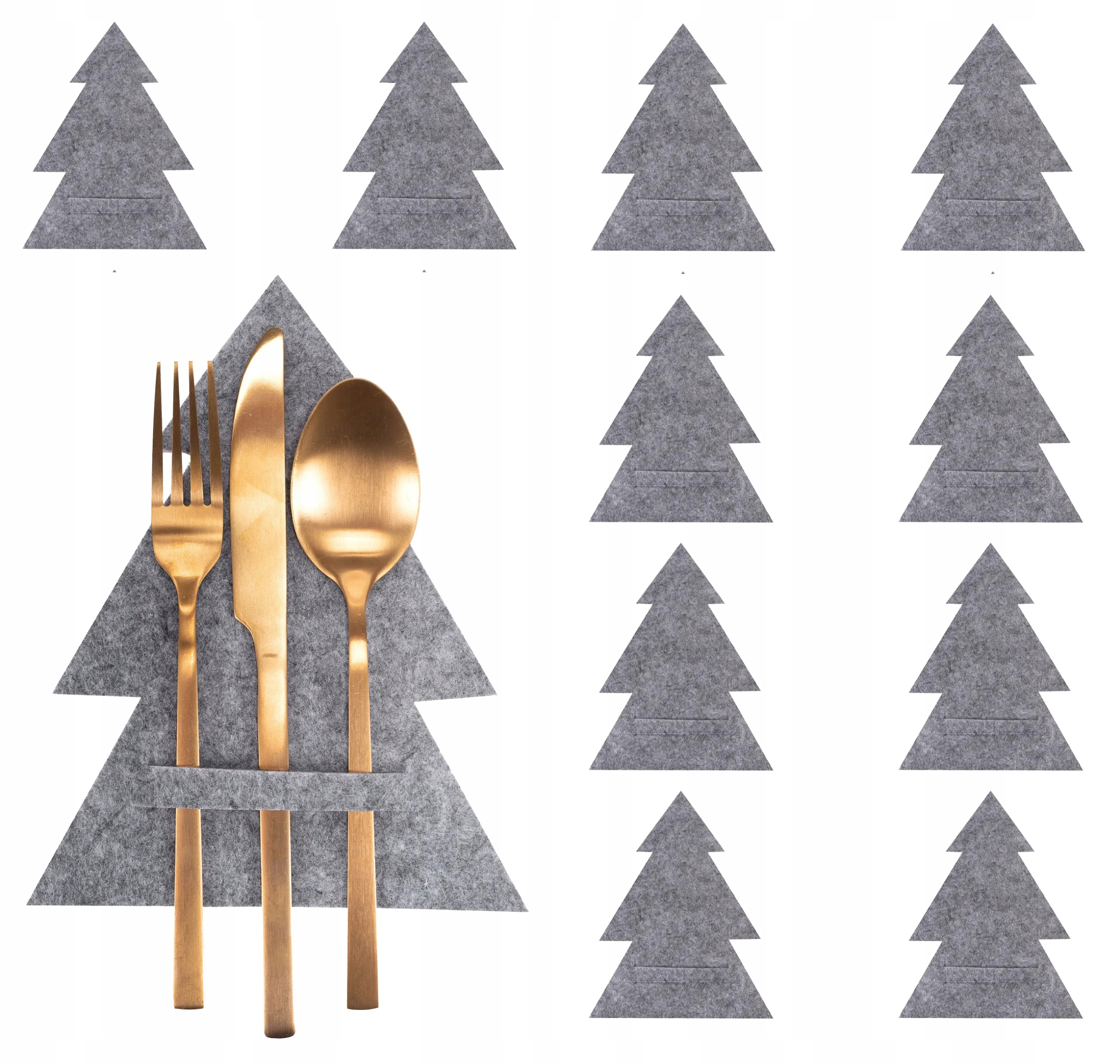 Новогодние футляры, чехлы для столовых приборов, 10 шт.