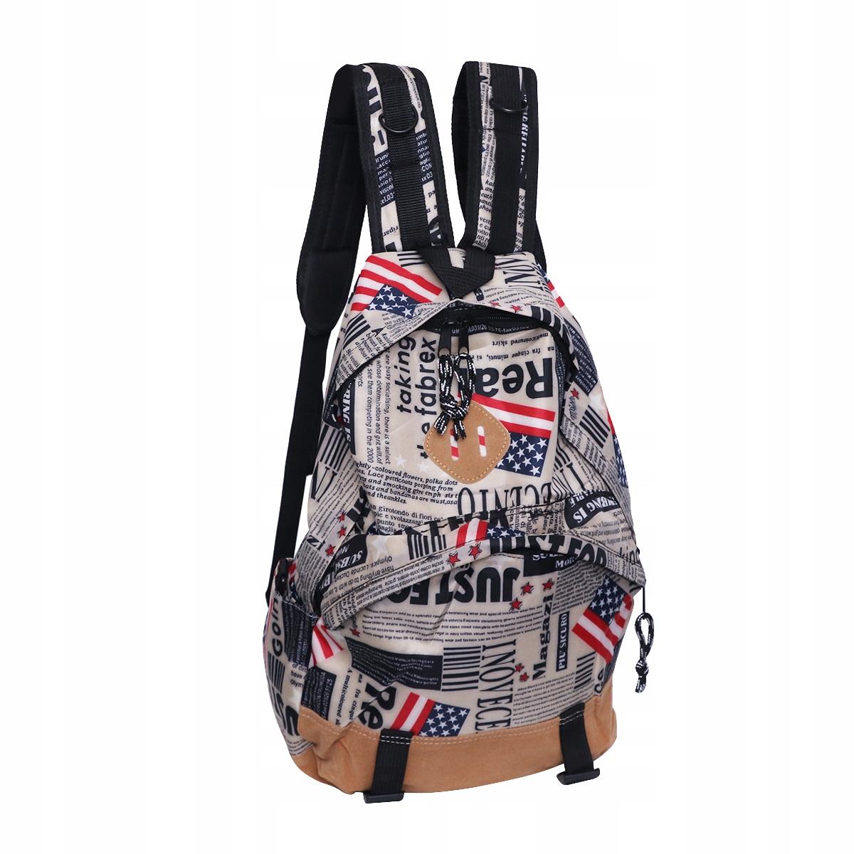 Plátená školská taška s unisex vlajkovou potlačou