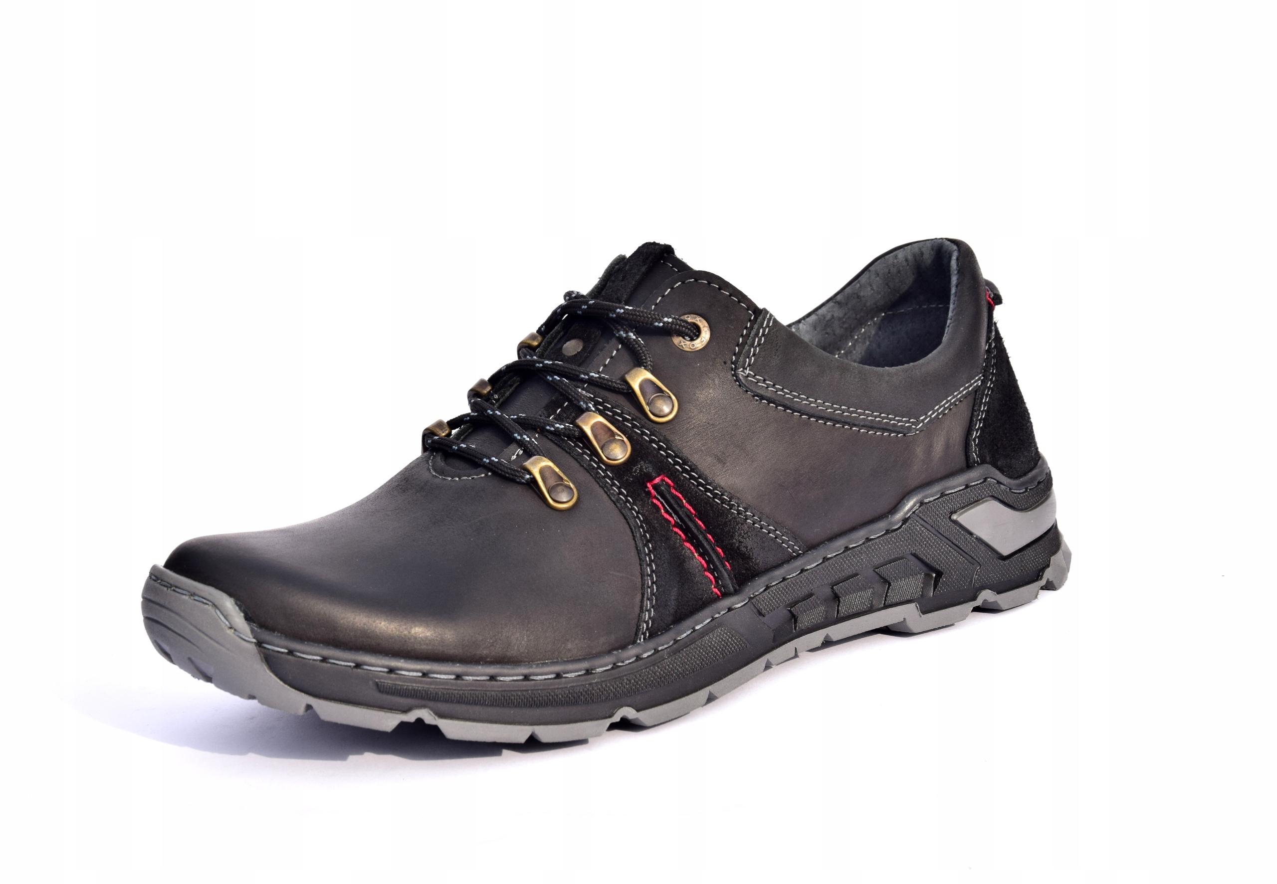 Półbuty trekkingowe obuwie skórzane polskie 0242 Rozmiar 45