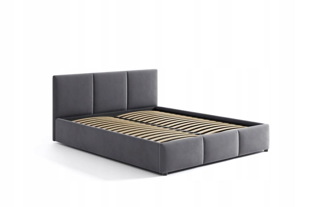 Łóżko Tapicerowane Popiel Welur Welurowe 140x200 Rodzaj łóżka Podwójne