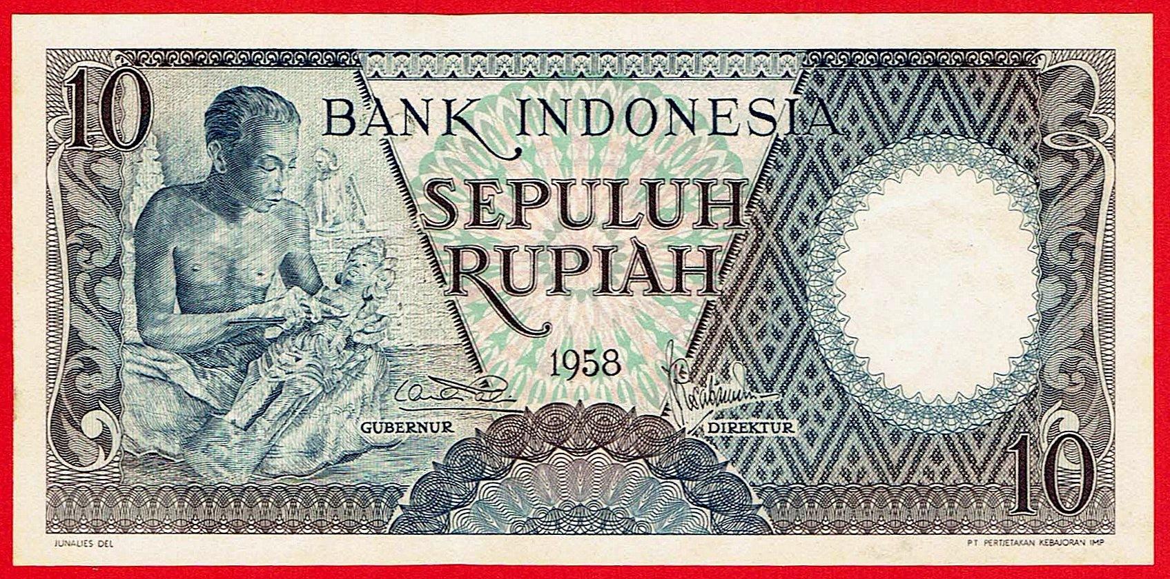10 РУПИАХ - Индонезия - 1958 - штат UNC