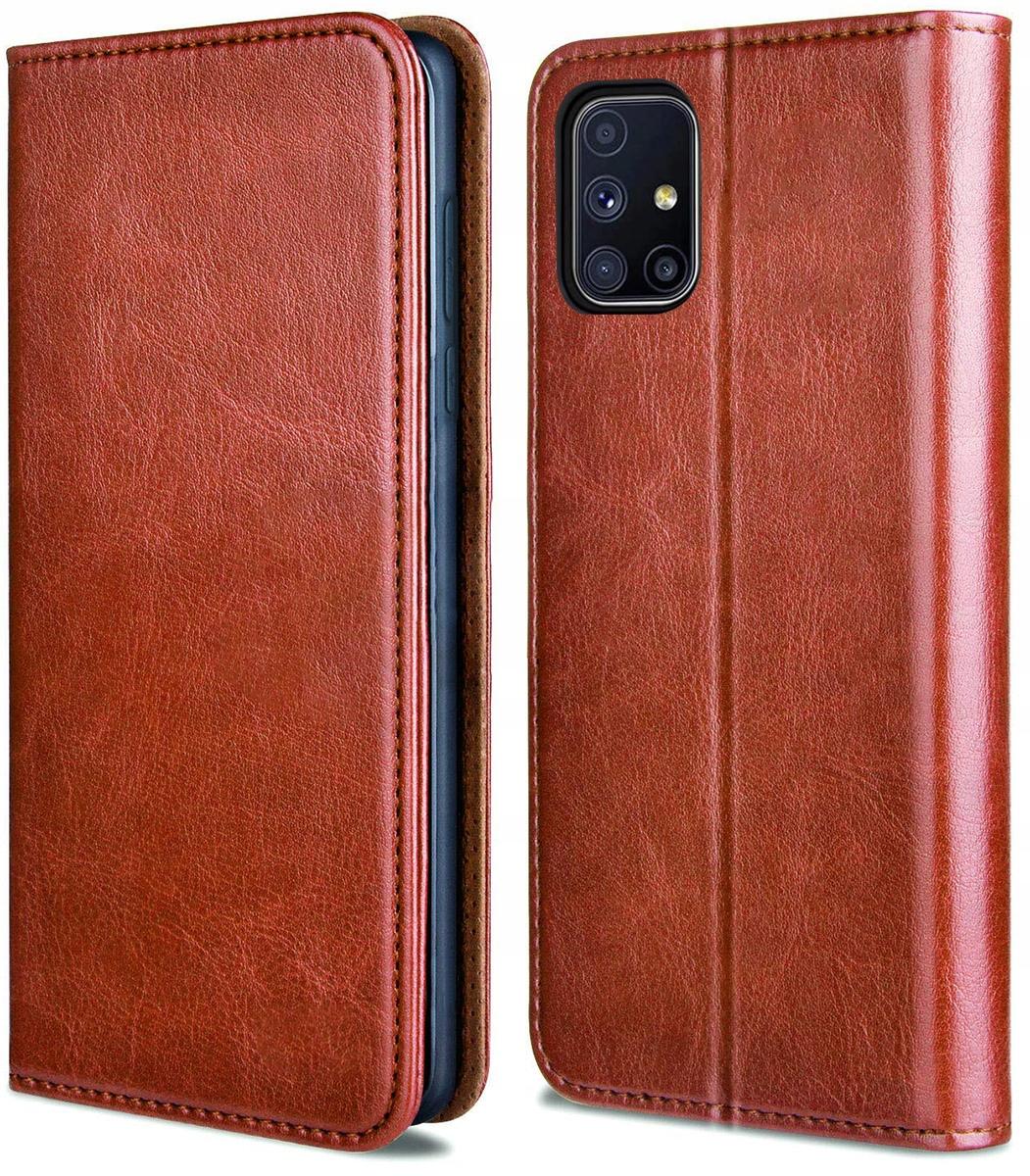 Etui do Samsung Galaxy M51 Skórzane Portfel +Szkło