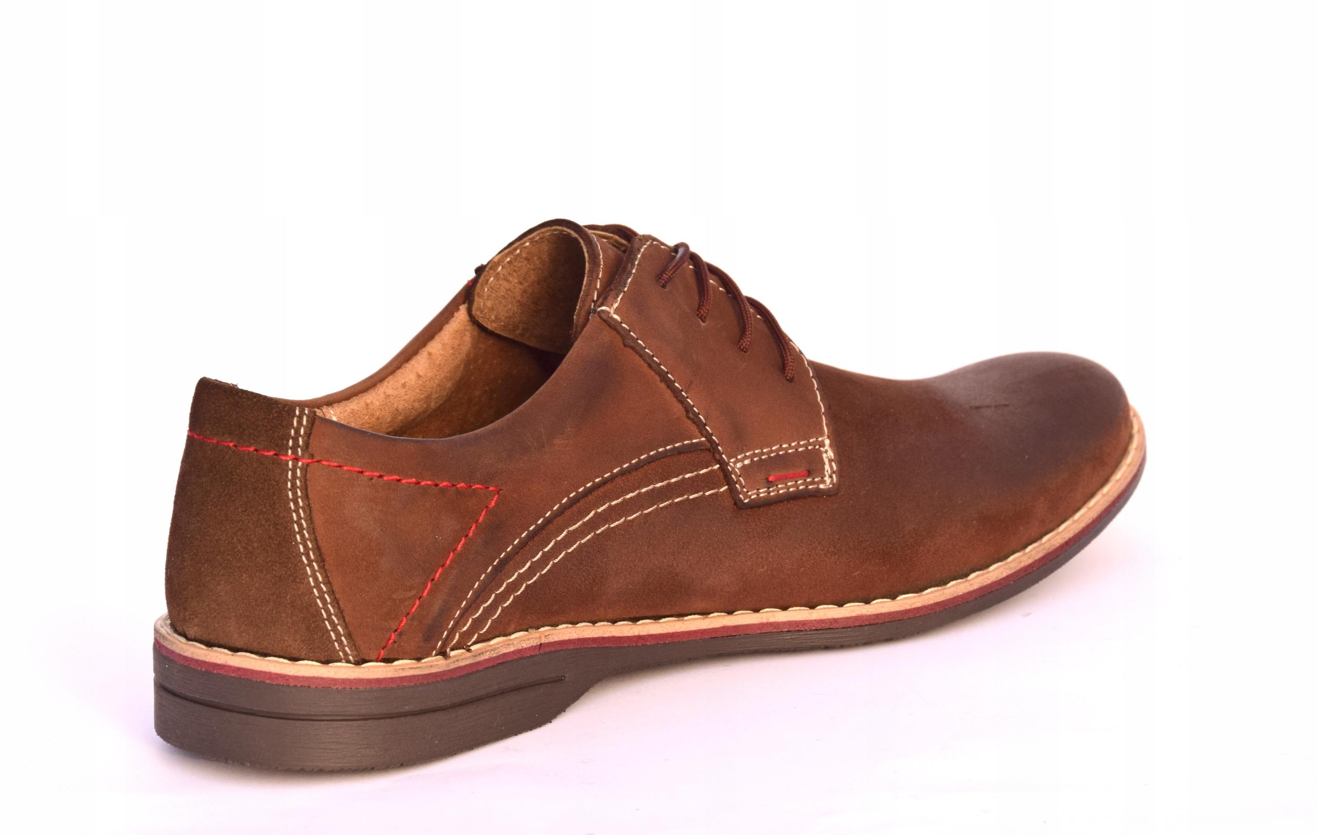 Buty męskie brązowe obuwie skórzane polskie 242 Kolor brązowy