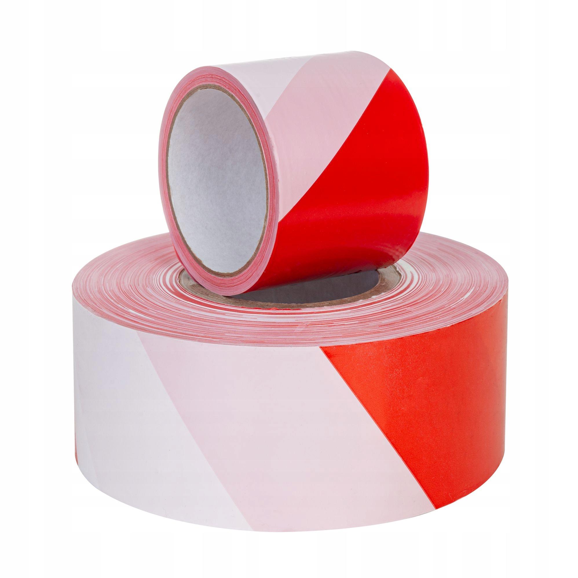 Предупредительная лента красная и белая 75 мм x 90 м