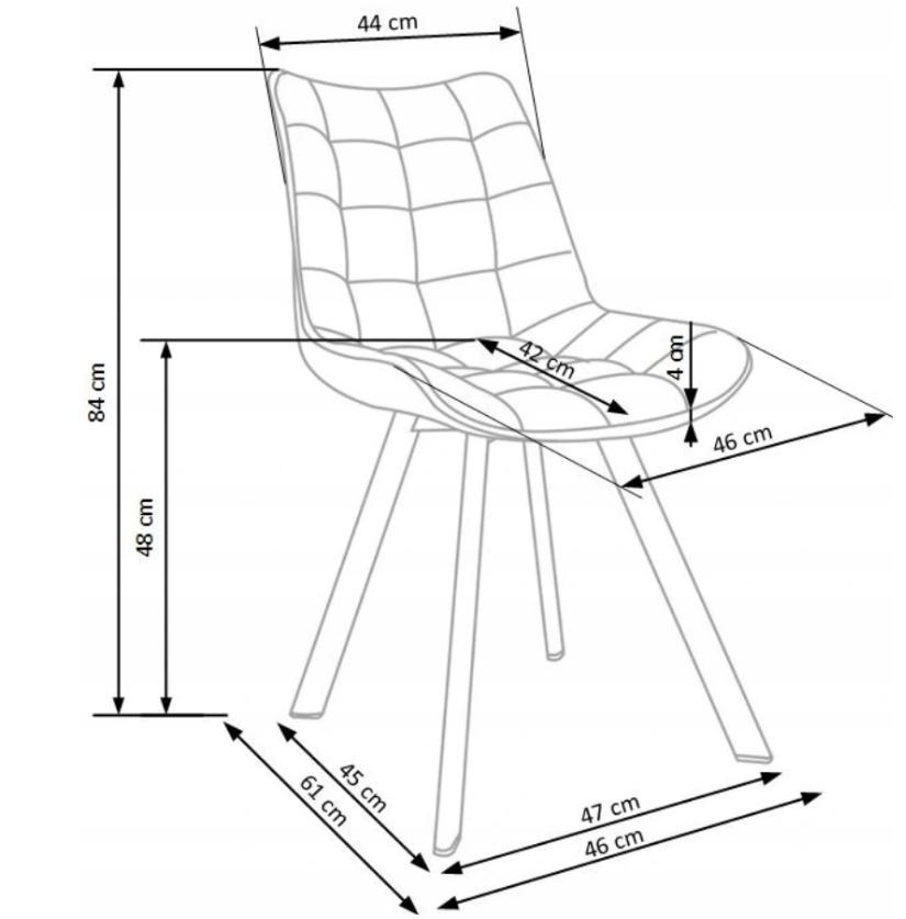 Krzesło Tapicerowane Pikowane Granatowe Welur Głębokość siedziska 42 cm