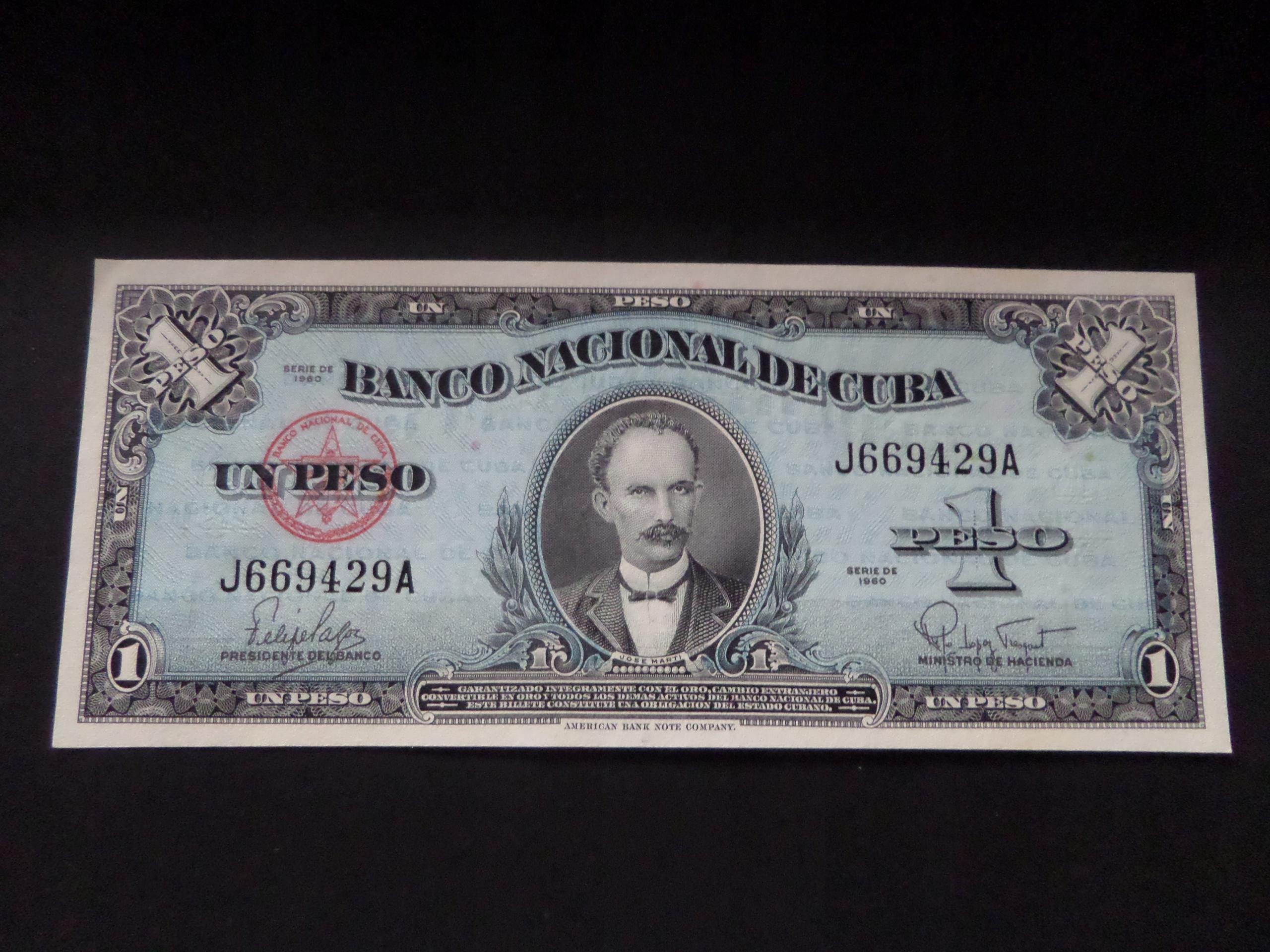 Kuba 1 Peso José Martí 1960 Pick 77b UNC