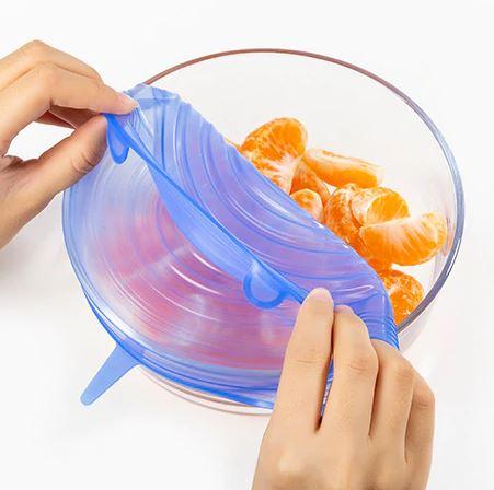 Pokrywki Silikonowe Uniwersalne do Żywności 6szt Kolor niebieski