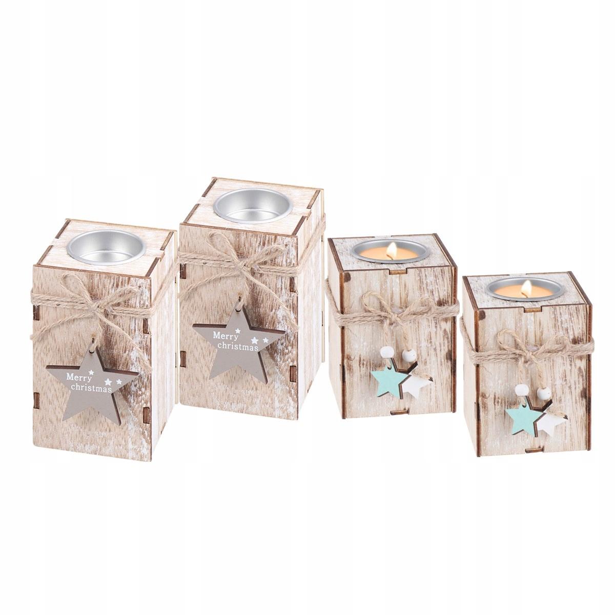 4ks Vianočný drevený svietnik na čajovú sviečku