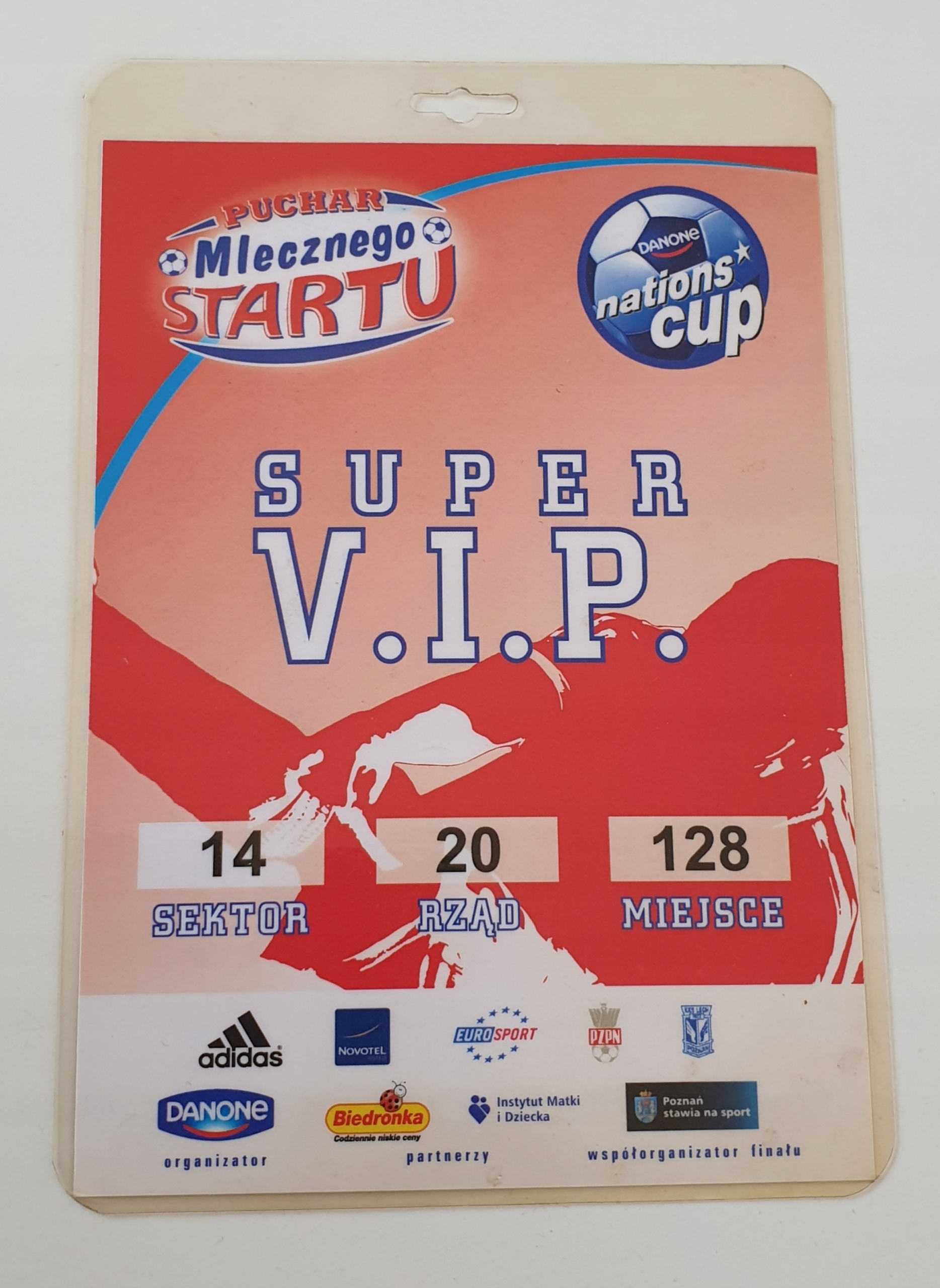 KARTA СУПЕР VIP DANONE NATIONS-CUP POZNAŃ 2010