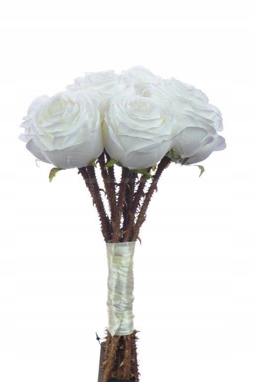 Ruže kytice svadobné biele faux 35 cm