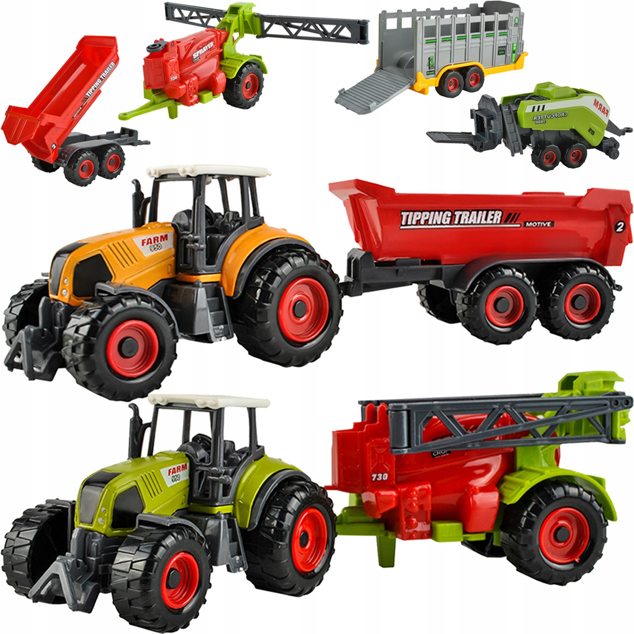 Zestaw 2 Traktory 4 maszyny rolnicze Traktor Metal