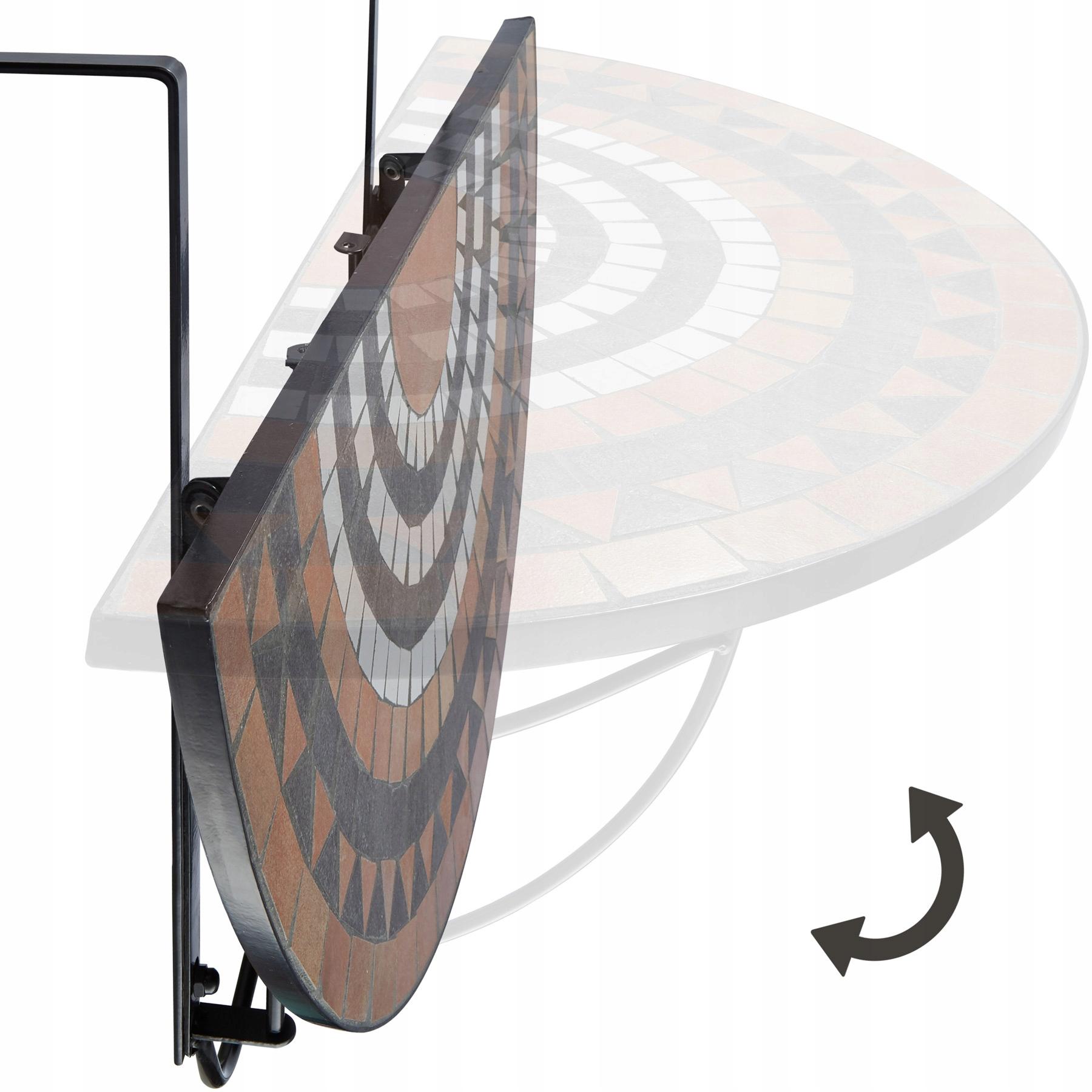 Skladací mozaikový balkónový stôl 402774 Šírka nábytku je 75 cm