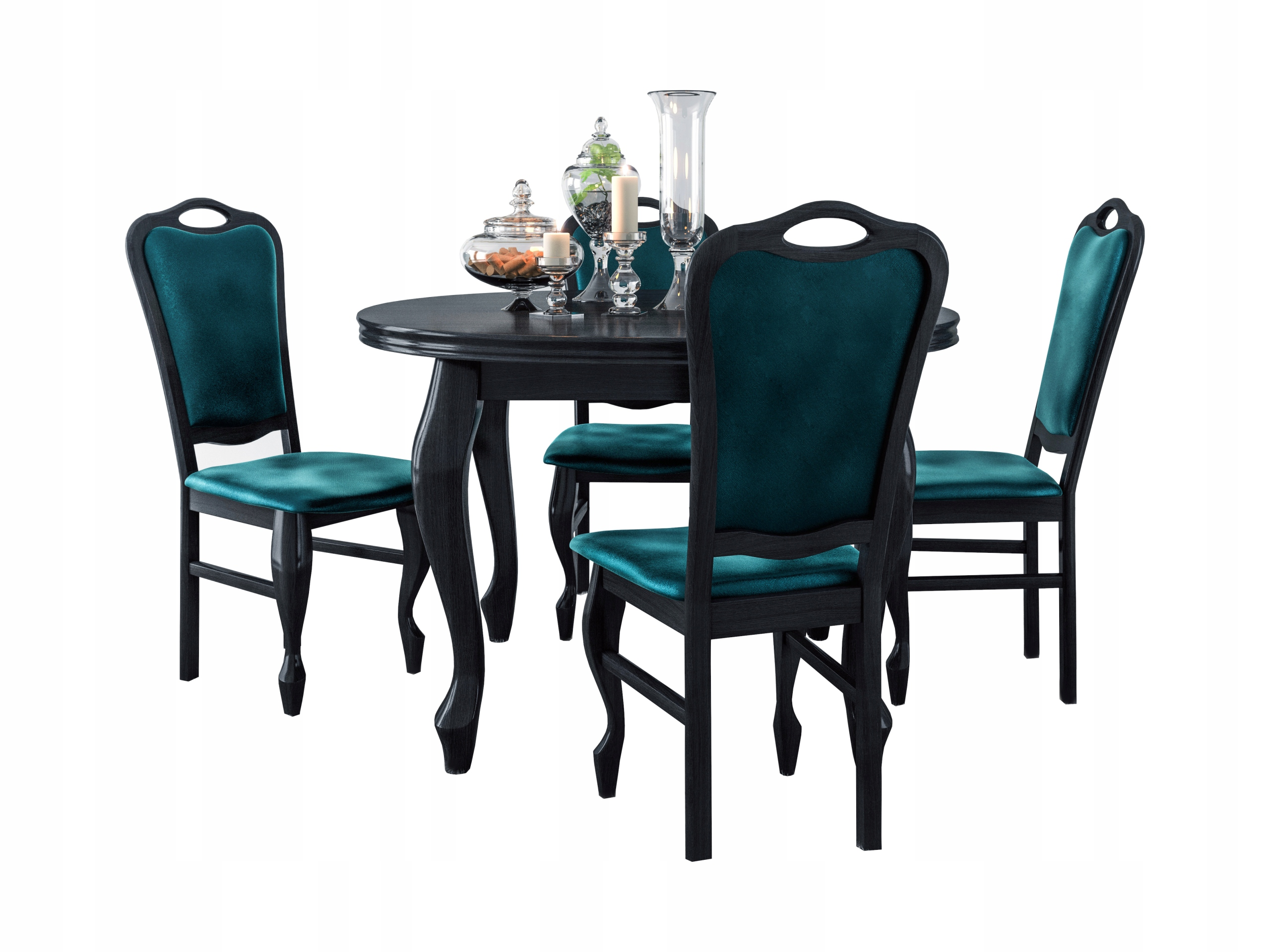 SENA ZESTAW, stół okrągły 90 + 4 x krzesła LUDWIK