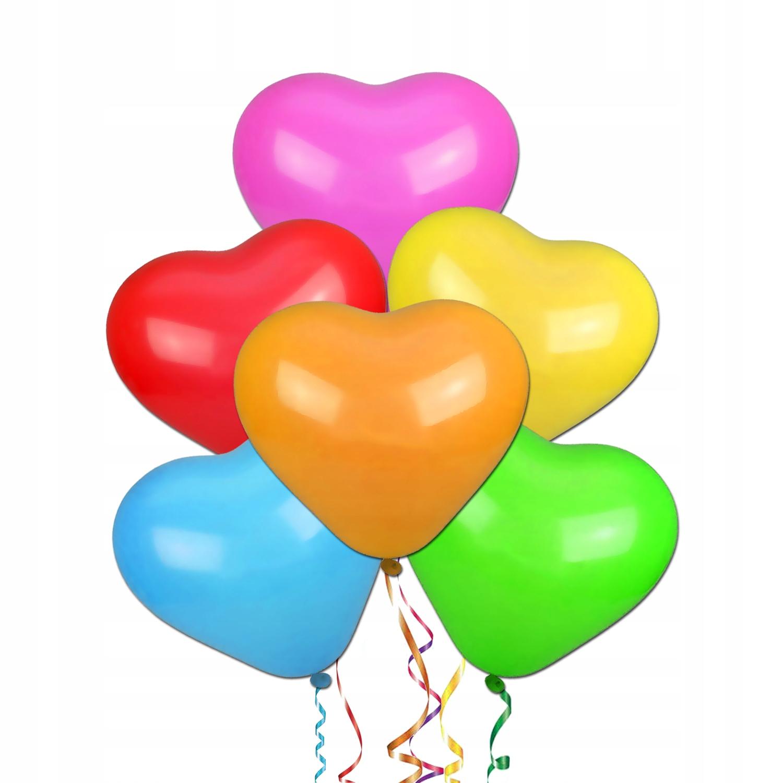 Balony Serca mix na Walentynki duże serce 100 szt