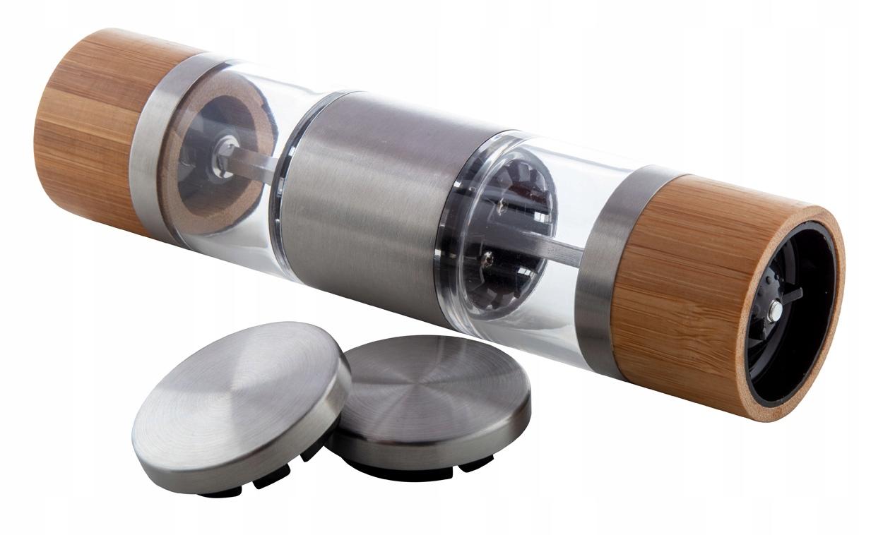 Двусторонняя бамбуковая мельница для перца и соли 2в1