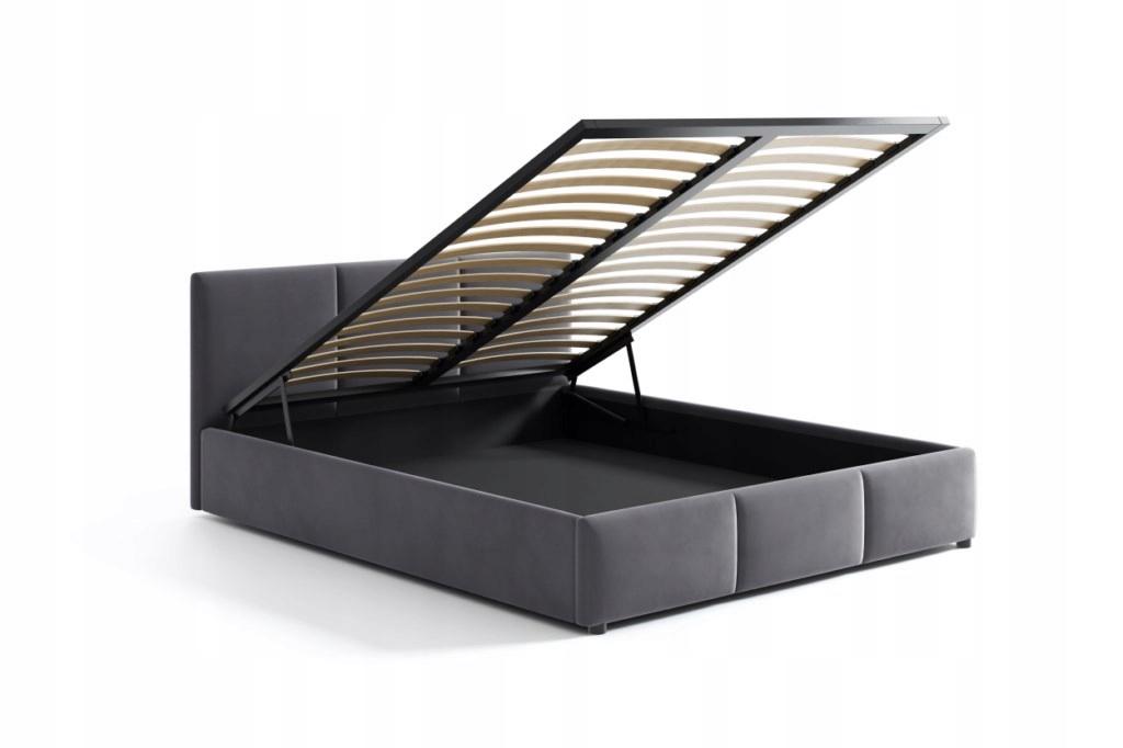 Łóżko Tapicerowane Popiel Welur Welurowe 140x200 Typ łóżka z zagłówkiem ze stelażem pojemnik na pościel otwierany do góry