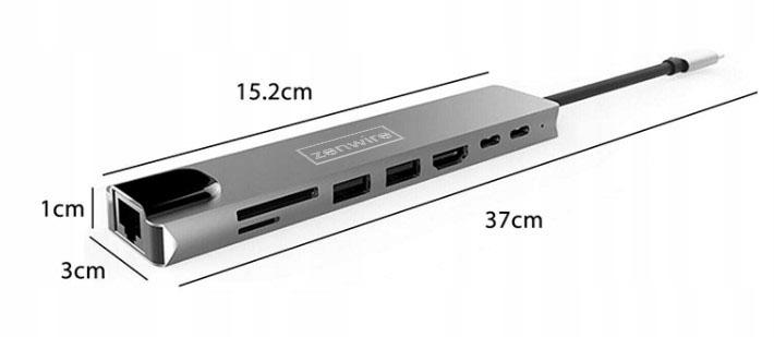 ADAPTER HUB 9w1 USB-C HDMI RJ45 Ethernet SD Mac M1 Zastosowanie Video