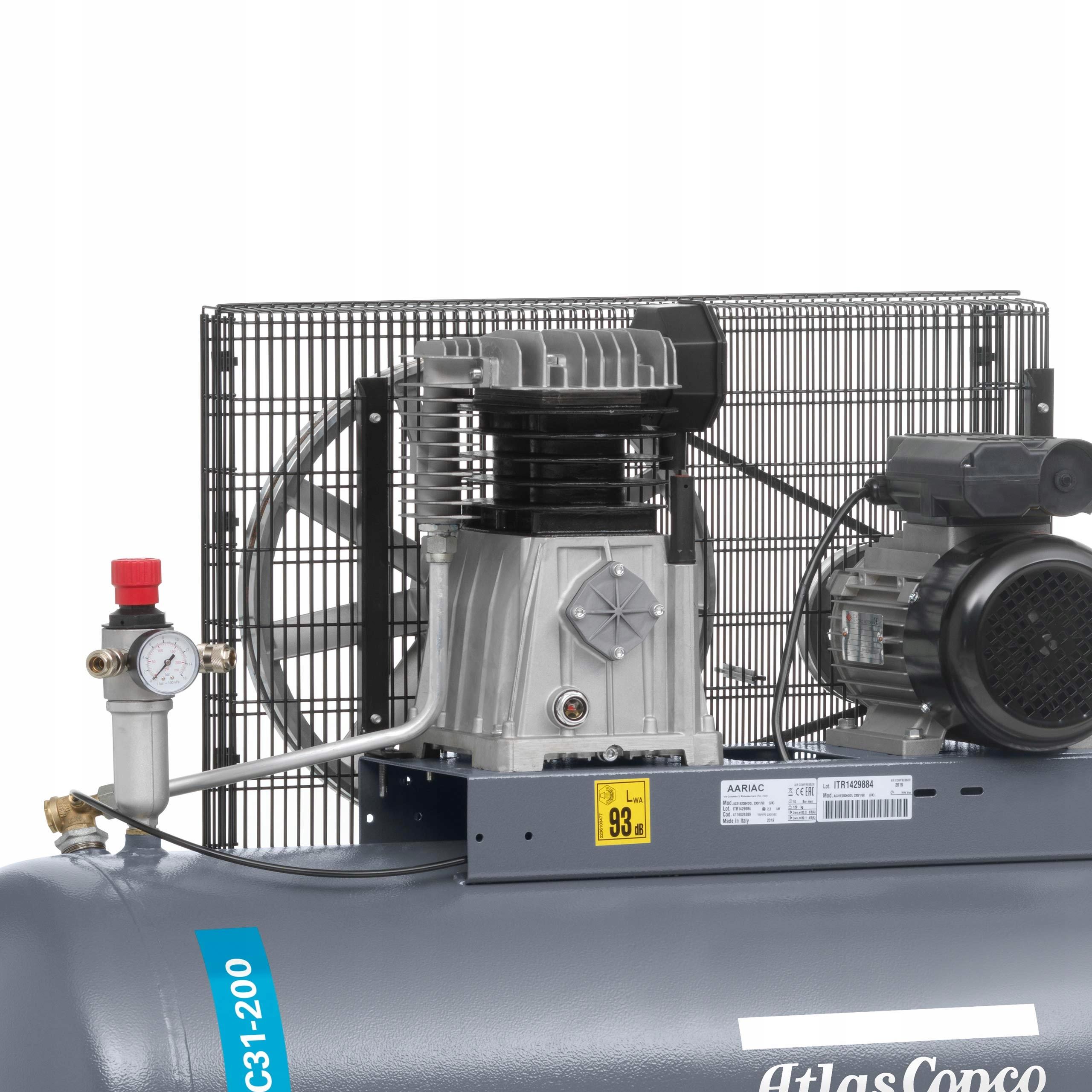 SPRĘŻARKA KOMPRESOR 200L ATLAS COPCO AC 31 E 200 M Waga urządzenia 100 kg