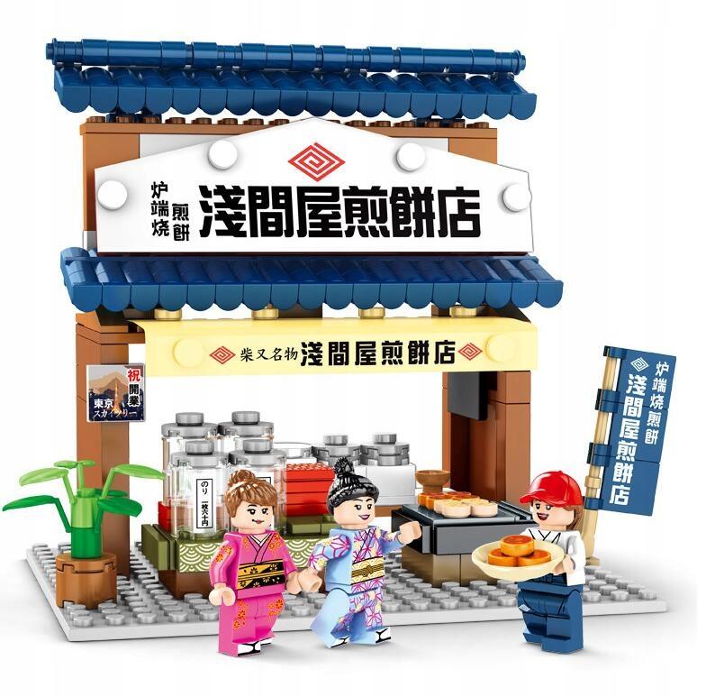 Japonská dekorácia scény zo stavebnice, hračka