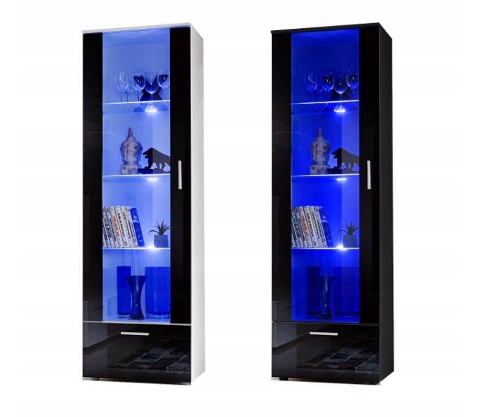 Шкаф-витрина с глянцевым стеклом для гостиной + LED