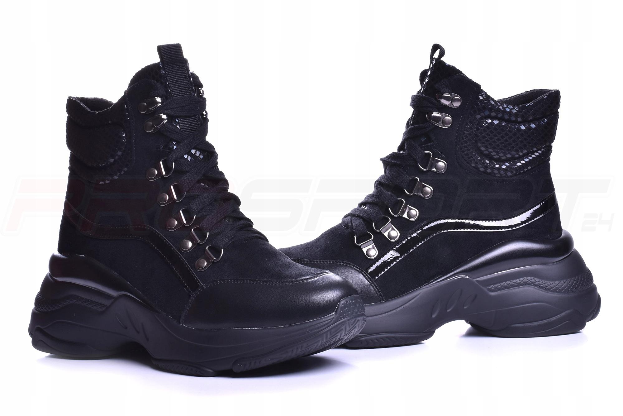Czarne Botki na Platformie Sneakersy za kostkę *38