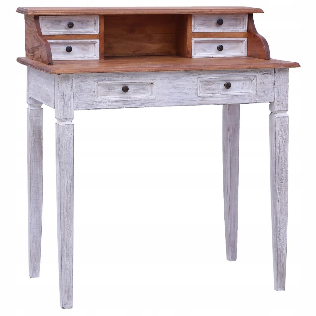 Biely písací stôl v prevedení regenerované vinobranie