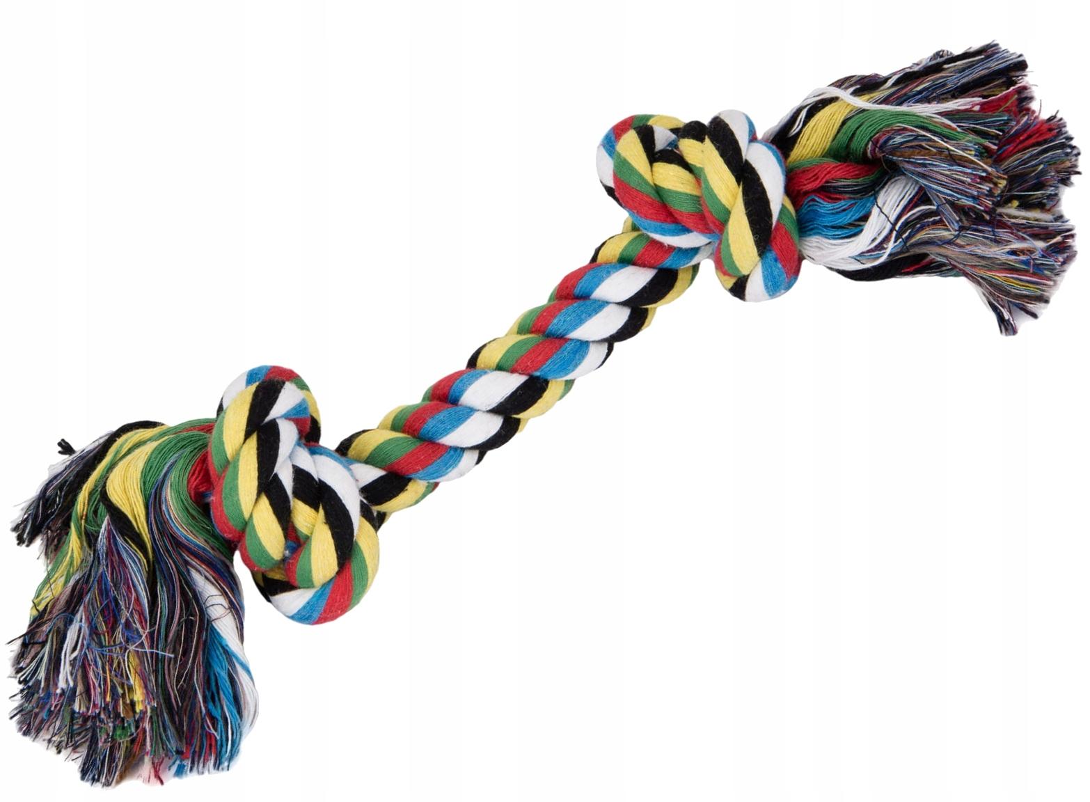 Прорезыватель для собак, веревка с 2 узлами, средний размер 33 см.